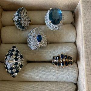 Vintage costume sapphire topaz rings